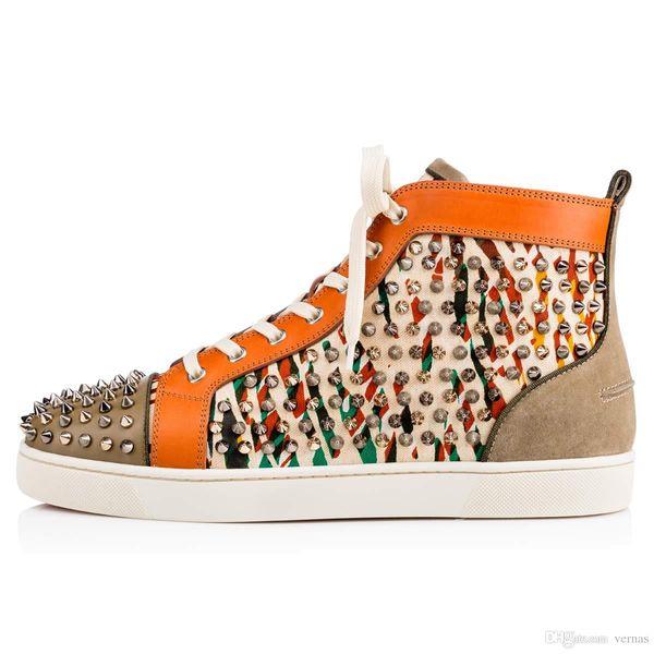 High Top Brand Spikes Leopard Strass Leather Red Bottom Sneakers para mujeres, hombres Louisflat Casual vestido de novia de fiesta famoso EU35-46