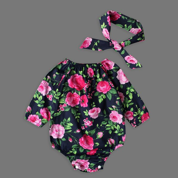 Ins Heißer Baumwolle Blumendruck Baby Mädchen Strampler Set Sommer Infant Kinder Kleidung Blumen Baby Mädchen Body Kleinkind Overalls DS10 Y190515