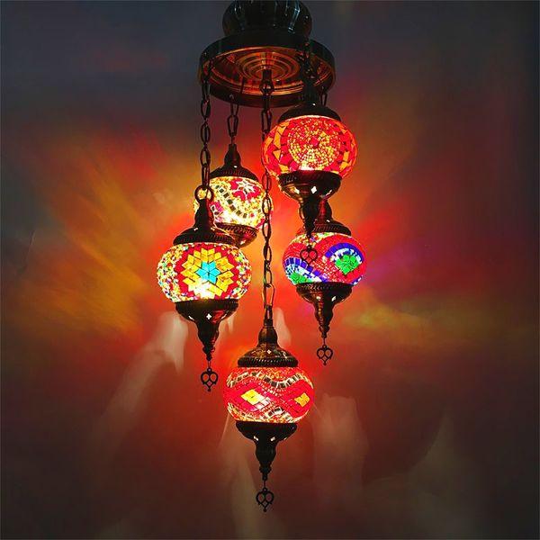 Bohemia turkish moroccan pendant light handmade mosaic stained glass Corridor Stairwell cafe restaurant hanging light lamp
