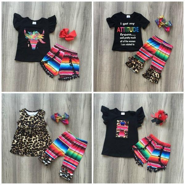 Sommer Baby Mädchen Kinder Kleidung Outfits Serape Streifen Kuh Blume Blumen Leopardenmilch Seide Baumwolle Rüschen Spiel Zubehör Q190523