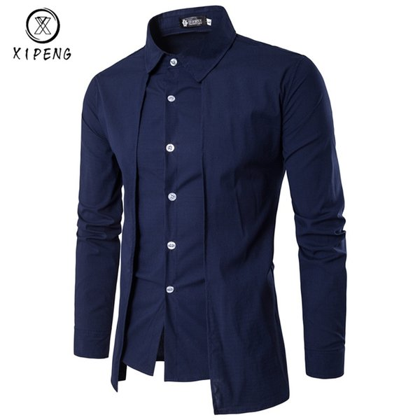 New Arrival Autumn Men Shirt 2019 Unique Design Fake two pieces Stylish Mens Dress Shirt Long Sleeve Casual Slim Fit Male Shirts #388568