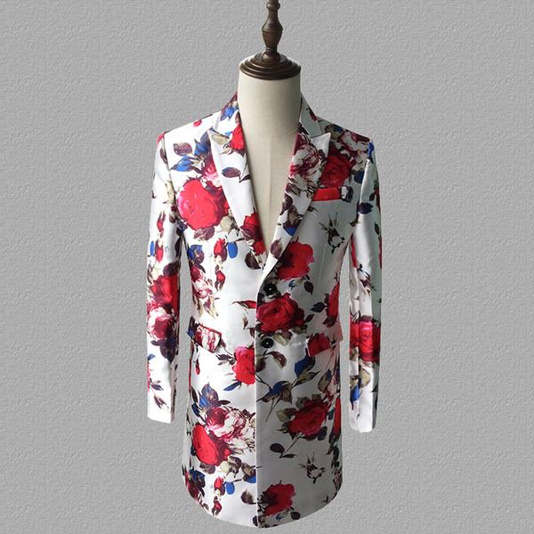 Blazer de impresión hombres trajes diseños chaqueta para hombre trajes de la etapa para cantantes ropa estilo estrella del baile vestido punk rock masculino