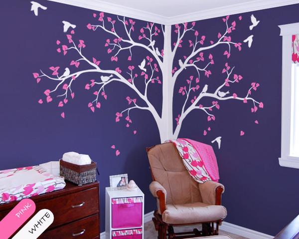 Baby Bedroom Home Art Decor Carino enorme albero con foglie che cadono e uccelli Wall Sticker Camera dei bambini in vinile decorativo murale T-6