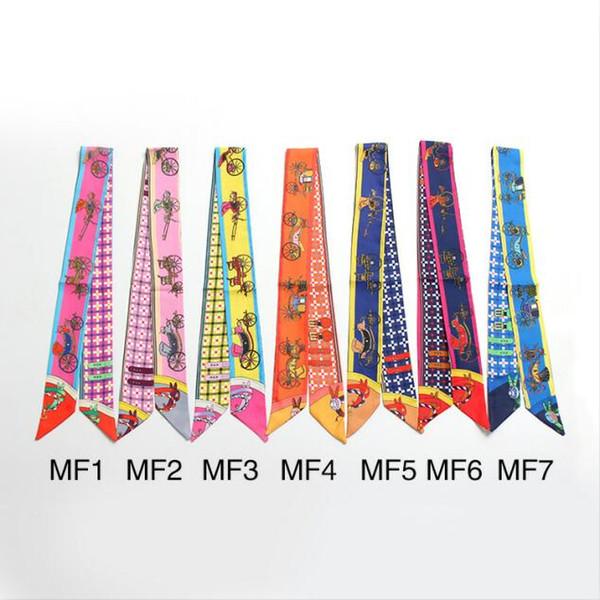 En stock Sac à main Foulards Femmes Petit foulard en soie Foulard en maille Riband Ceinture Foulard Ancien transport Imprimé Poignée Sac Ruban Foulards Wraps