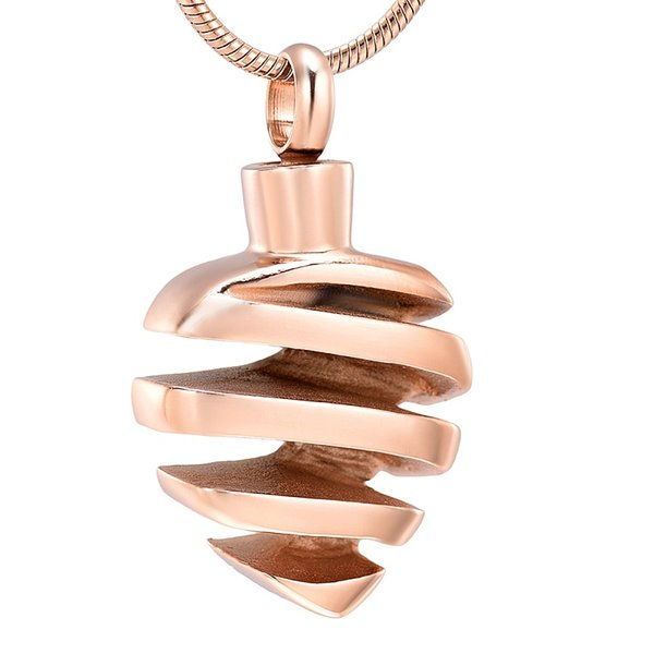 IJD9674 Cremazione foglia oro rosa per cenere urna collana pendente in acciaio inossidabile souvenir ricordo memoriale con gioielli a catena serpente