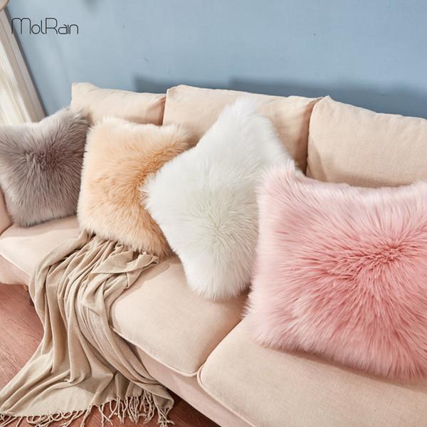 Пушистая Подушка Шерсть Cushions Fur Подушка Обложка Ins диван-кровать Длинных Плюшевой подушки украшение рождество номер Throw Подушка