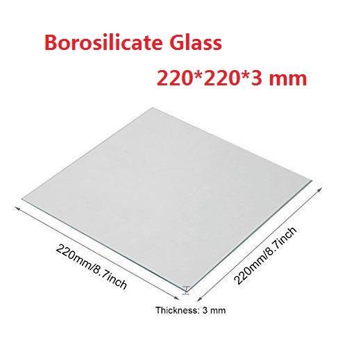 Lecho térmico de vidrio borosilicato transparente 220x220x3mm para MK2 / MK2A ANET A8 A6 Mendel Reprap Impresora 3D Creality Ender-3S Impresora 3D superficie superficie