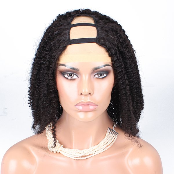 Kinky Curly U Part Wig Brazilian Remy None Lace Human Hair Wigs For Women Natural Black Front 130% Density Full End Dolago