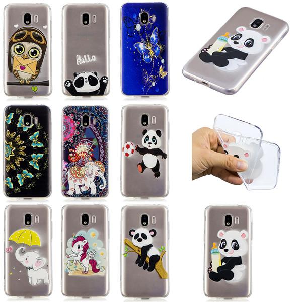 Soft TPU Back Phone Case For Samsung J2 Pro J4 J6 J330 J530 Slim Fit Panda owl elephant butterfly unicorn Case for Samsung J4 J6 Prime Cover