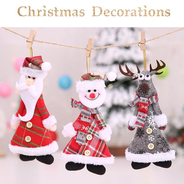 Árvore de natal Pendurado Ornaments Botão Papai Noel Boneco de Neve Elk 2019 Xmas Árvore Pingente de Decoração Do Partido Caçoa o Presente
