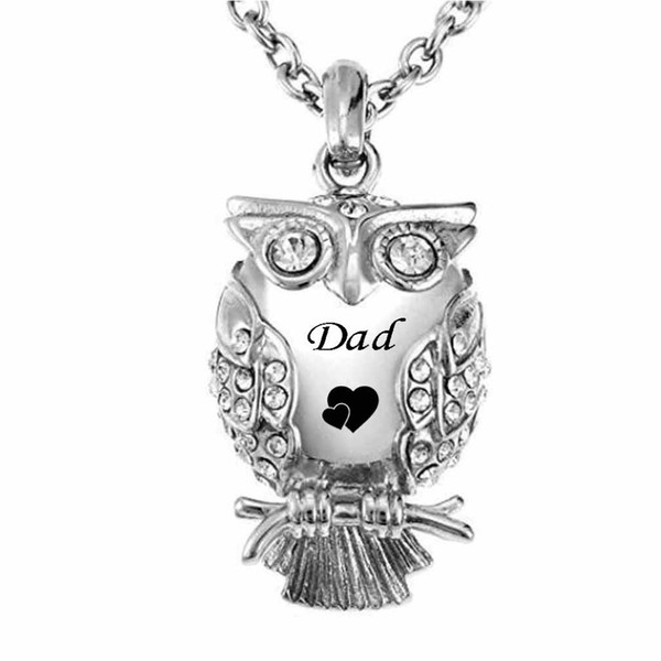 Pendentif urne de hibou classique collier pendentif remplissage kit ashes en acier inoxydable pour papa / maman / frère / fils