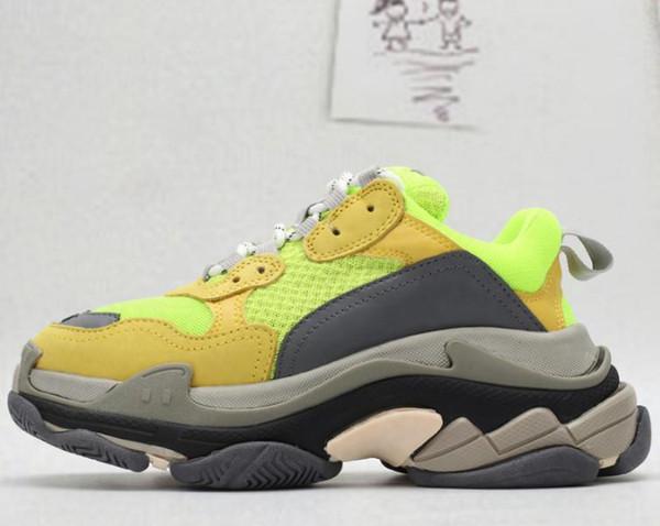 Pas cher nouveau chaussures de randonnée Triple Casual design papa de mode Paris S sur les hommes et les femmes de vente chaussures de sport T01 vert