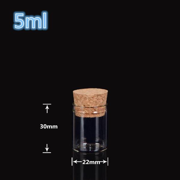 22 * 30 ملليمتر 5 ملليلتر قوارير الزجاج الجرار التغليف زجاجات اختبار أنبوب صغير مع الفلين سدادة الزجاج الشفاف زجاجات واضحة 200 قطعة / الوحدة