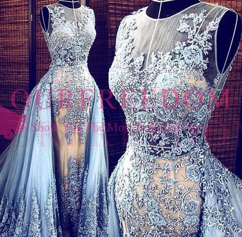 Couture Zuhair Murad Elie Saab Style Evening Dresses Dusty Pale Blue Tulle Lace and Champagne Sheer See Through Celebrity Prom Gowns 2019