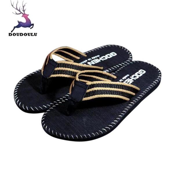 Men Summer Stripe Flip Flops Shoes Sandals Male Slipper Flip-flops Men Casual EVA Shoes Summer Fashion Beach Sandals Size 40~44