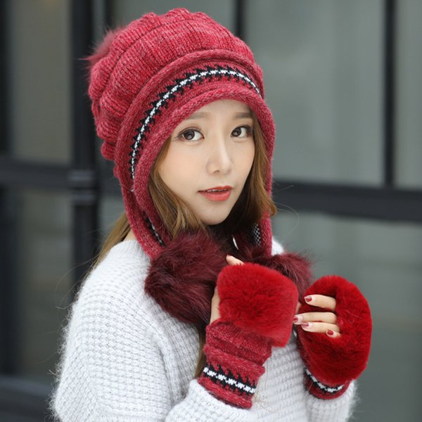 Cute Soft Winter Glove Hat Fabala Warm Knitted Thicken
