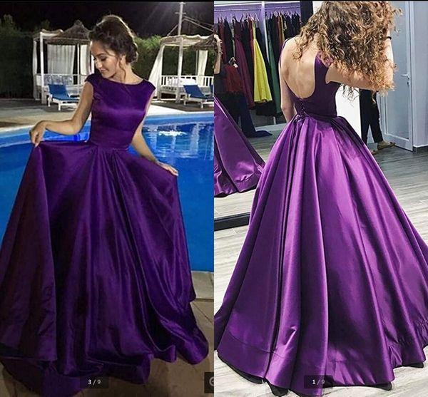 Vestido De Festa vintage purple a line open back sexy evening dress scooop neckline cap sleeve satin floor length evening gowns hot sale