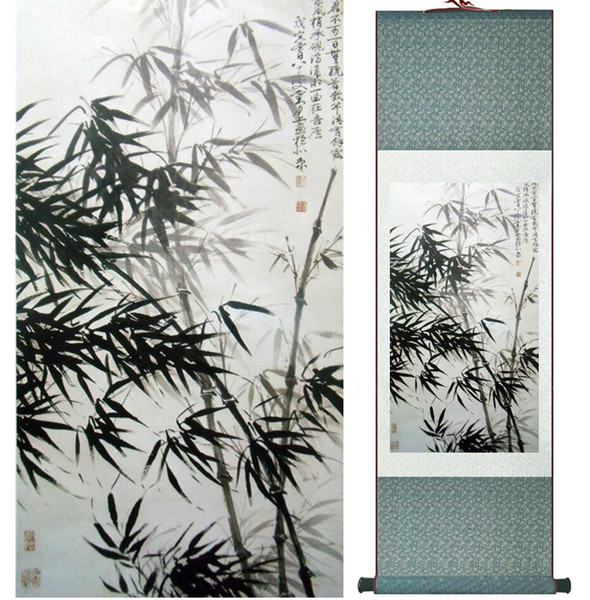 Pintura de bambú Chiense caracteres y flores pintura Home Office decoración pintura en rollo chino 041211