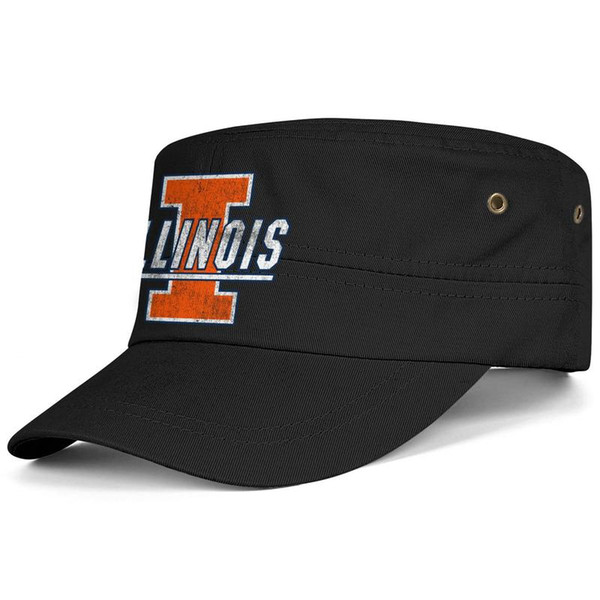 Illinois Fighting Illini Basketball old Print logo Black Men Women Military Fitted Cadet Cap Army Hat Tactical Cap Sun Hat Student Mili
