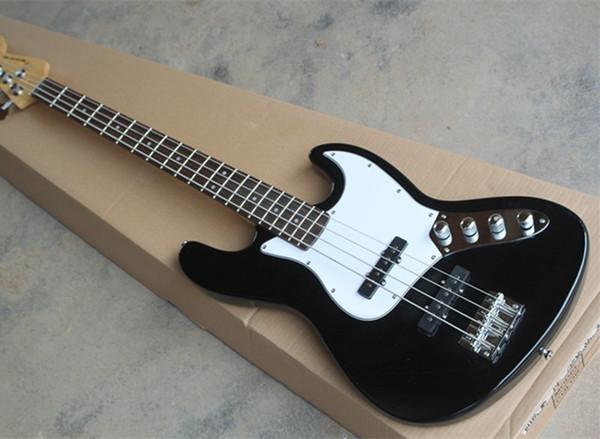 Бесплатная доставка черный 4 струны джаз электрическая бас-гитара, белый накладка, предложение индивидуальные