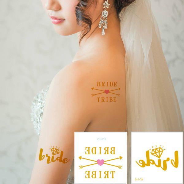 Gold Silver Waterproof Temporary Tattoo Metal Flash Shiny Tattoo Sticker Body Art Decal Transfer Paper Bride Tribe Bachelorette Wedding 2019