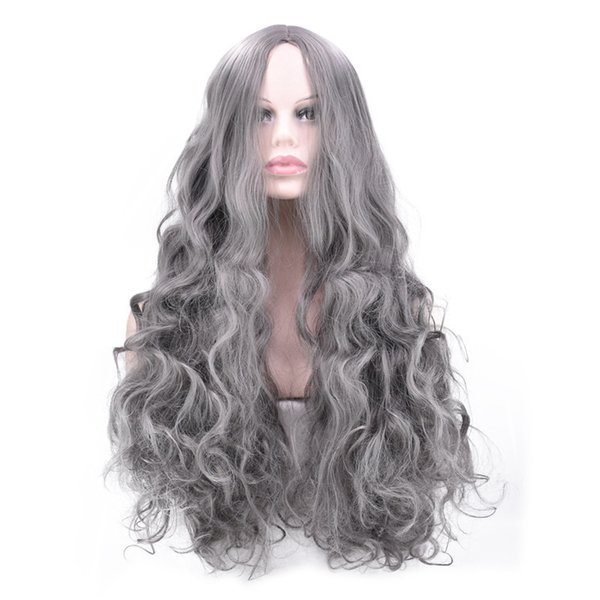 Grandma Ash Smoky Gray Wig Fluffy In Fund Long Fringe Cos Comic Long Curly Hair Simulation Will Scalp
