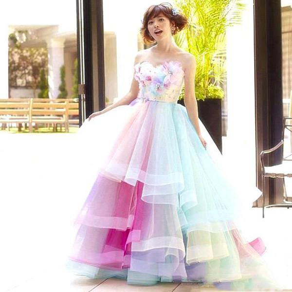 Arco iris de colores Quinceañera vestidos de baile Vestidos de novia 2019 vestidos de partido con gradas del organza prom balón vestido de longitud de Prom