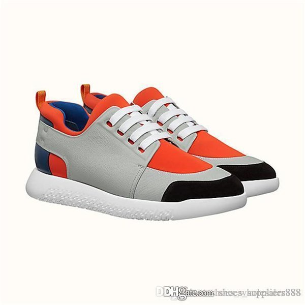 Classic Men Sneaker, Technical canvas and Epsom calfskin with fixed laces for slip-on wear, Flat Trainers Designer Casual Shoes