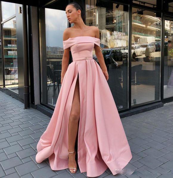 Compre Elegante Pink Bateau Neck A Lne Vestidos Largos Para Fiesta Sexy Side Split Satin Drapeado Longitud Del Piso Foraml Vestidos De Noche Baratos A