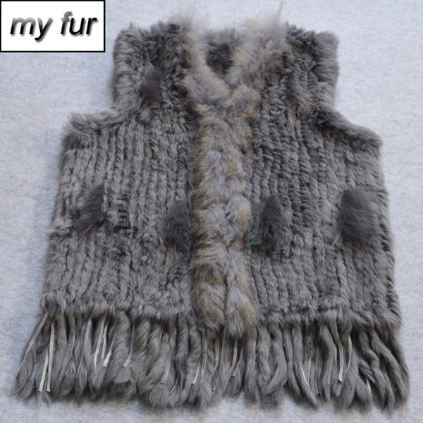 Hot Women Natural Real Fur Vest Spring Autumn Knit Tassel Real Fur Gilet Genuine Raccoon Collar Waistcoat