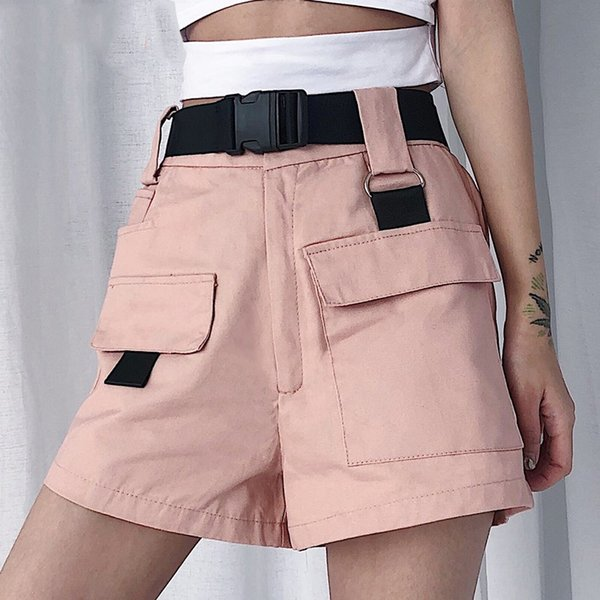 Summer Women Cargo Shorts Korean Fashion High Waist Mini Shorts with Pocket Buckle Belt Casual Ladies