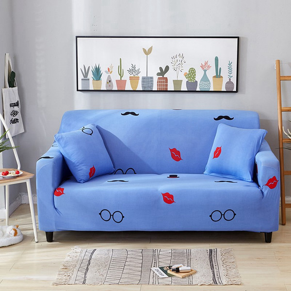 Incredible 2019 New Blue Lips Glasses Kiss Print Sofa Cover Slipcover Stretch Elastic Spandex Polyester Chair Loveseat L Shape Sectional Slip On Chair Covers Machost Co Dining Chair Design Ideas Machostcouk