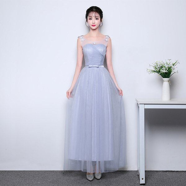 In Stock Sash Grey Cheap Long Bridesmaid Dresses for Women Weddings Party Girls Prom Cocktail Mesh Communion Dresses Plus Size