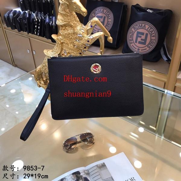 Pochette da uomo di grande capacità borsa a mano in morbida pelle business casual clip off-w1732