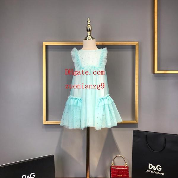 Meninas vestido de renda verão Vestido de princesa azul Ruffled