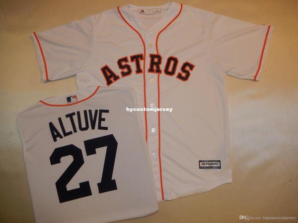 Cheap custom Mens MAJESTIC Houston #27 JOSE ALTUVE Baseball Jersey WHITE New Mens stitched jerseys Big And Tall SIZE XS-6XL For sale