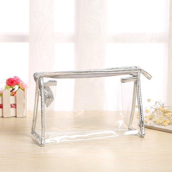 Clear PVC Cosmetic Bags - Fashion Womens Makeup brush Storage Toiletry Bags Organizer Handbags Travel Zip Pouch Beauty Accessories