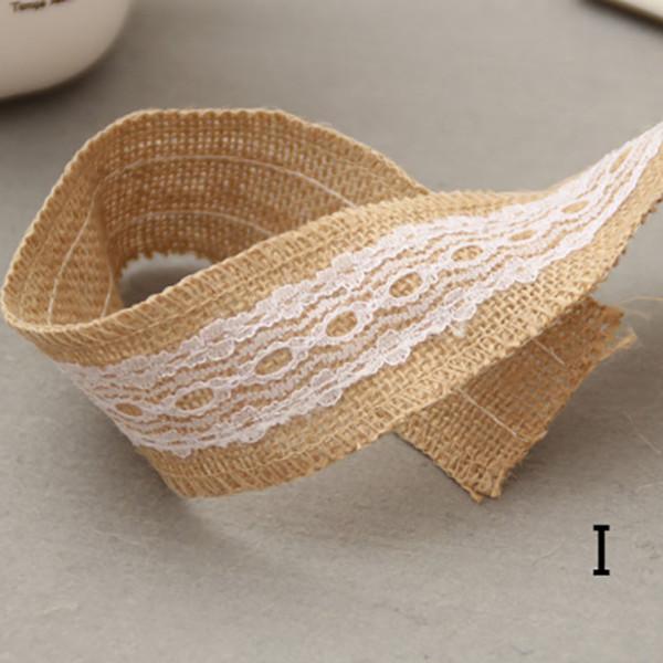 10pcs/set Jute Burlap rolls Hessian Ribbon with Lace rustic vintage wedding/glass storage bottle decoration supplies diy ornament burlap 2m