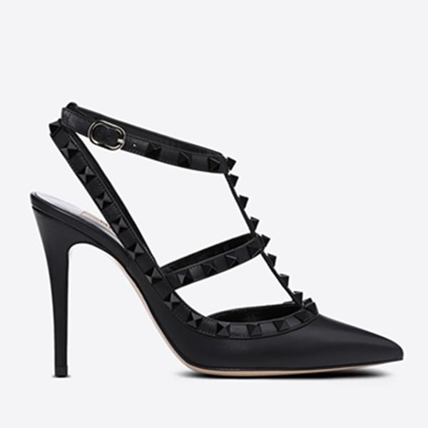 Designer Pointed Toe 2-Strap with Studs high heels matte Leather rivets Sandals Women Strappy Dress Shoes valentine high heel Shoes