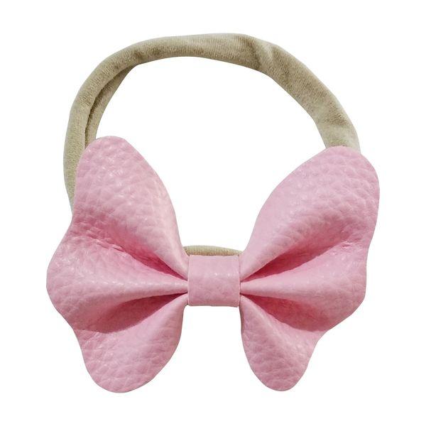 24pcs/lot 4Colors PU Bow Felt Flower Nylon Headband Baby Girls Dress Clothes Dress Photography Props Hair Accessory Kidocheese