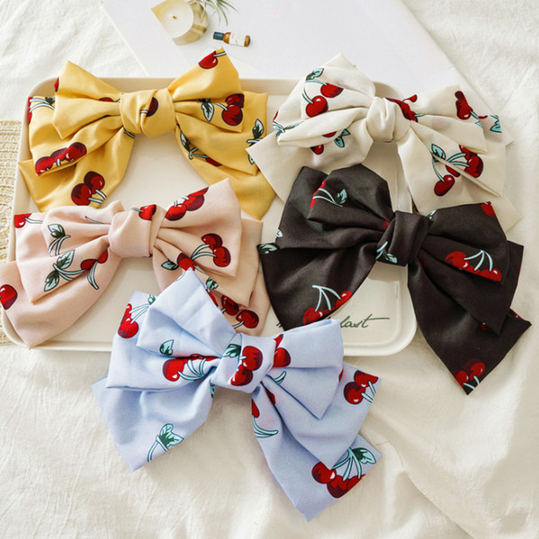 22CM Big Bows hair clip girls cherry printed cloth Bows spring clip boutique children princess hair accessories women barrettes F9085