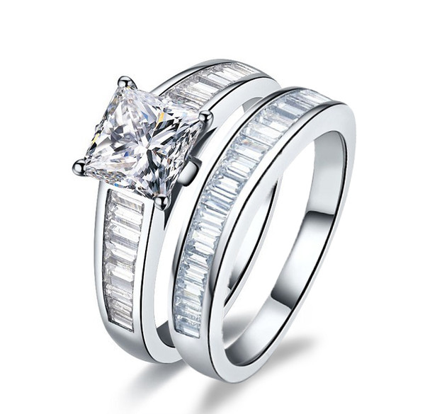 Attractive Real 925 Sterling Silver Ring 2 Ct Synthetic Diamond Rings In 18K White Gold Plated Value Suit Combination Fine Jewelry For Girls