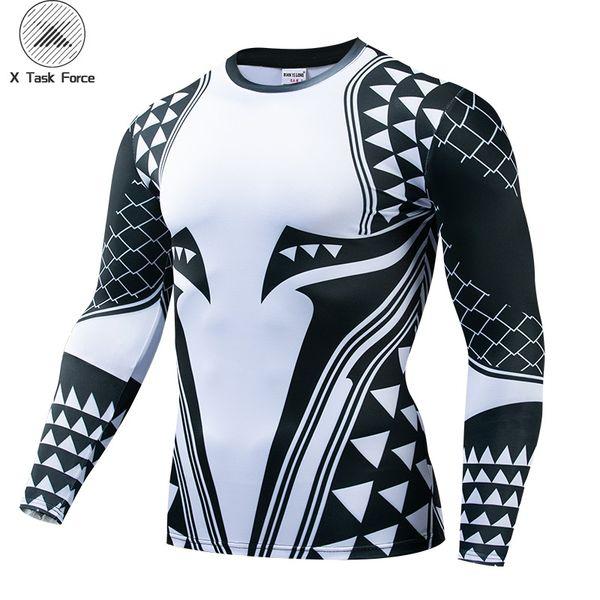 Aquaman Compression Shirt Man 3D Печатные футболки Мужчины 2019 Новые Комиксы Косплей Костюм С Длинным Рукавом Топы Для Мужчин Фитнес-Ткань