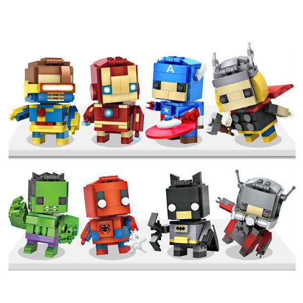 Captain America Building Block Building Sets Puzzle Hulk Superman Spiderman Batman ironman Minifig Black Widow Dead Mini Figures Retail box