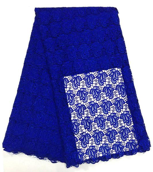 Königsblauer schnur spitzenstoff hochwertiger afrikanischer bestickter spitzenstoff bestickter guipure-stoff für hochzeitskleid CT002