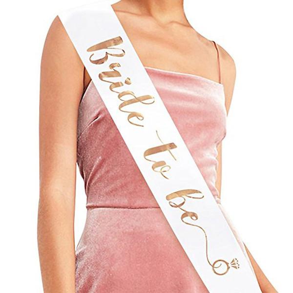 top popular White Pink Bride To Be Satin Ribbon Sash Vintage Wedding Bridal Shower Bachelorette Party Hen Night Decoration Supplies Favors 2020