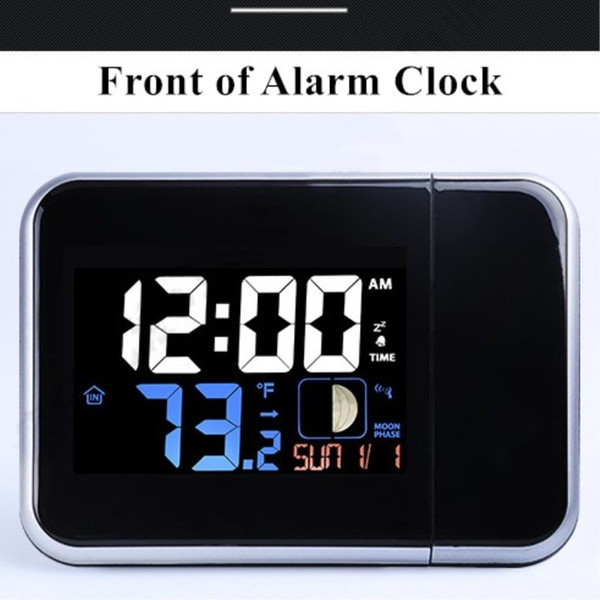 Temperature Humidity with Backlight Moon Phase Led Digital Desktop NEW Alarm Clock Projection Date Snooze Weather Station