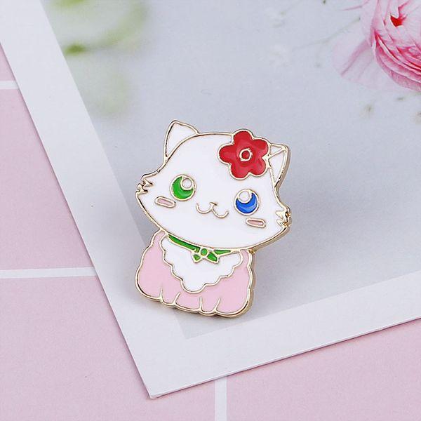 kawaii lady cat pins pink enamel flower cat broches lapel pin Badge gift cute pet memorial pins cartoon cat lover brooch for hat