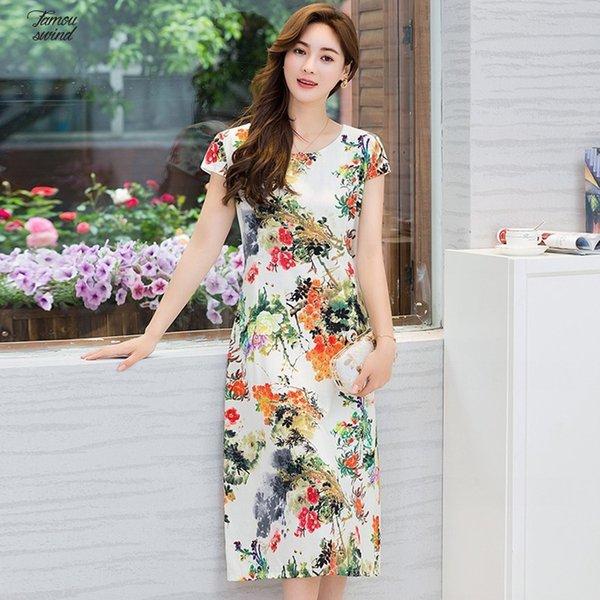 2019 Long Dress Xl 5Xl Twill New Women Style Loose Designer Clothes Print Round Neck Short Sleeve Plus Size Beach