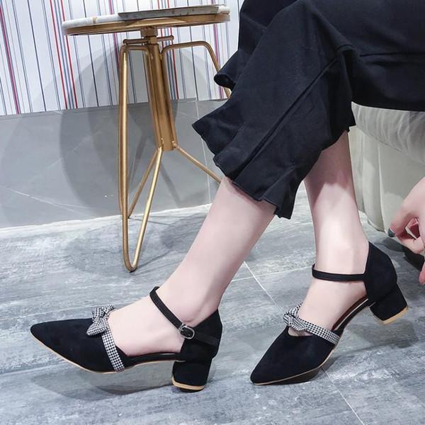 Siyah Bej Süet Kadın Sandalet Sivri Burun Tıknaz Topuklar Gladyatörler Chic Ekose Papyon Ayakkabı Kadın Kapak Topuklu Mary Janes Ucuz